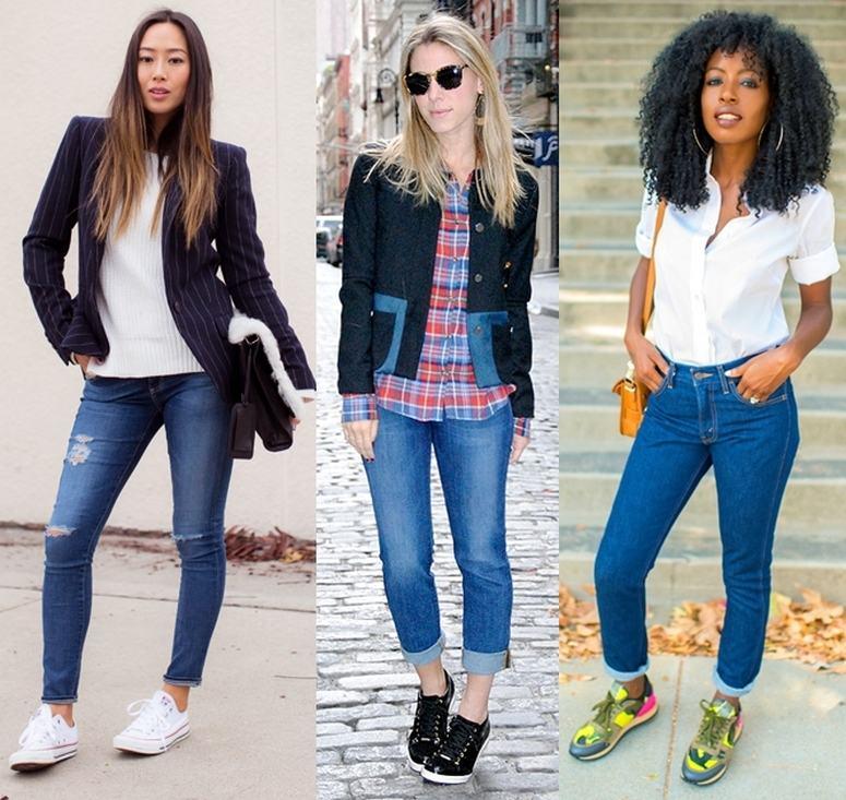 tênis com seu look calça jeans